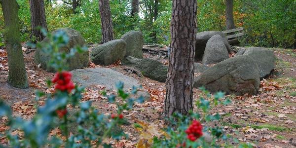 Kleine Sloopsteine - Klein aber fein: etwa 20 Meter lang ist das Steingrab, bei dem leider kaum noch ein Stein auf dem anderen liegt.