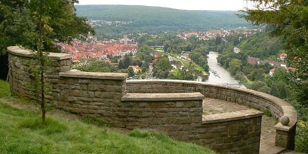 Blick auf die Anlage und der Stadt Hann.-Münden