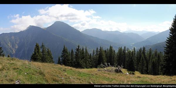 Kleiner und Großer Traithen (links) über dem Ursprungtal vom Seebergkopf