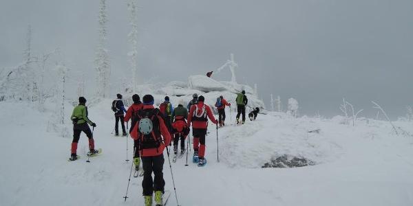 Das Rudel aus Skitourengeher und Schneeschuhwanderer erreicht den Plöckenstein