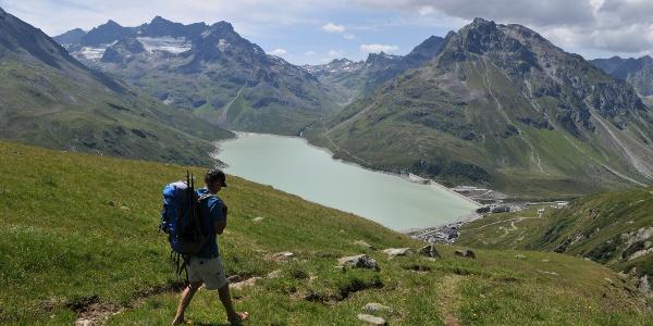 Abstieg zur Bielerhöhe, Blick in die Silvretta