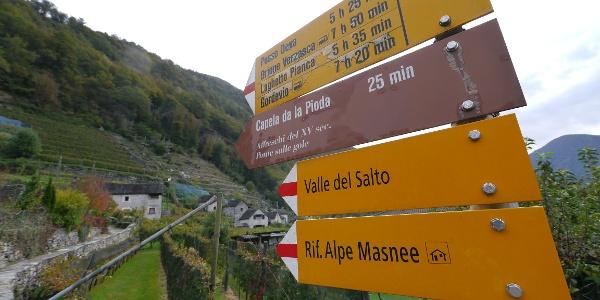 Wegweiser ins Valle del Salto