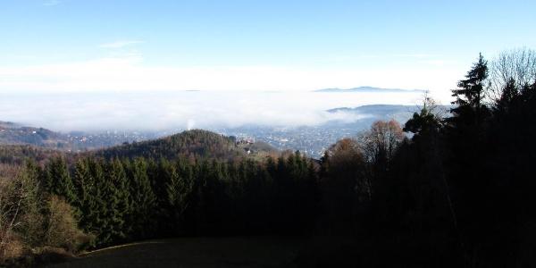 Panoramablick nach Deutschlandsberg mit Demmerkogel im Hintergrund