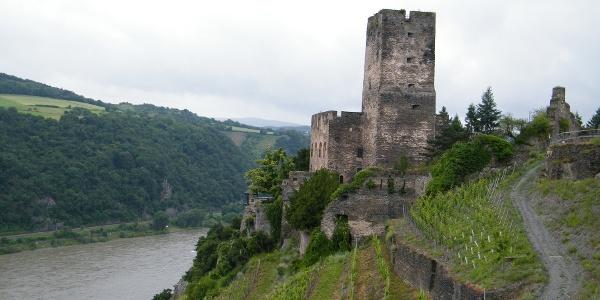 Die Burg Gutenfels steht auf einem Felssporn 110 m oberhalb der Stadt Kaub.