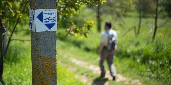 Wegmarke des Drei-Bäche-Wegs