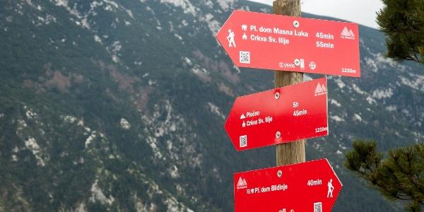 Trail signs near Blidinje Lake
