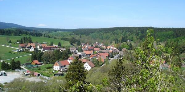 Blick von der Ruine Königsburg auf den Harzort Königshütte