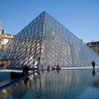 Der Haupteingang des Louvre Museums