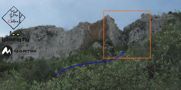 La Torre am Monte Cucco - Übersichtsbild des Klettergartens bei Finale