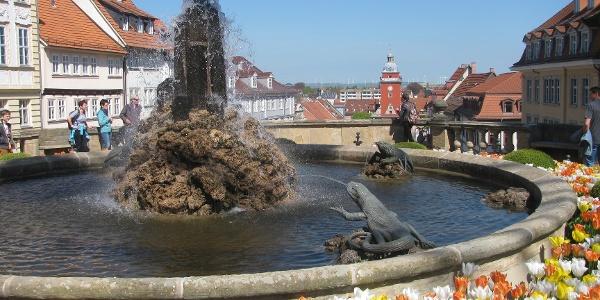 Gotha Marktplatz mit Wasserkaskaden
