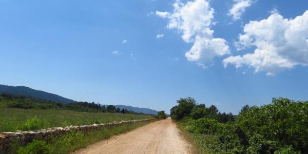 Die schnurgerade Schotterstrasse nach Stari Grad