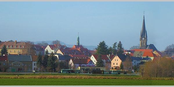 Blick auf Neustadt in Sachsen.