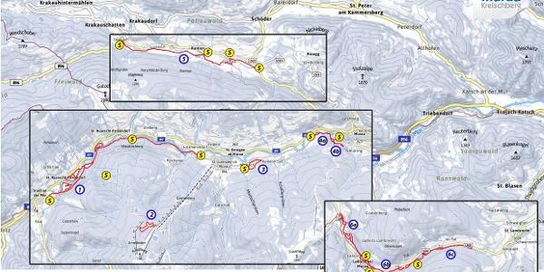 Übersicht Loipen in der Region Murau-Kreischberg
