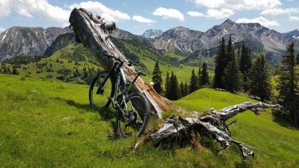 Raddepot mit Blick zurück zur Alpe Guschgfiel