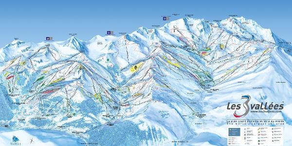 """Der Pistenplan von """"Les ´Trois Vallées"""