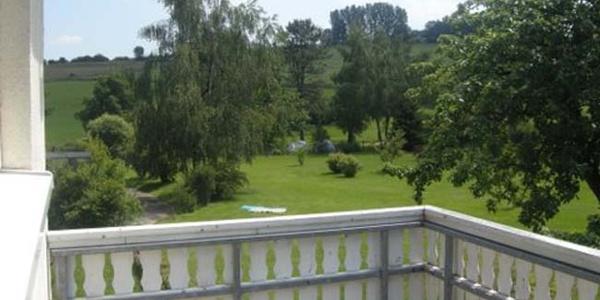 Gartenblick aus der Ferienwohnung vom Gästehaus Steker