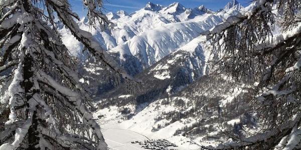 Aussicht ins Tal und auf das Bergdorf Ulrichen