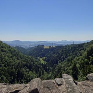 Aussicht Burgruine Wieladingen ins Rheintal