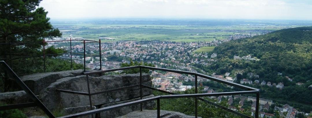 Das Naturdenkmal Bergstein oberhalb von Neustadt a. d. Weinstraße.