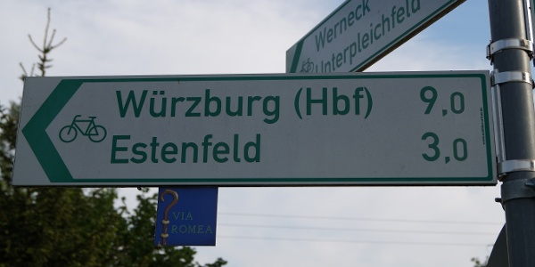 Wegweiser Via Romea in Kürnach