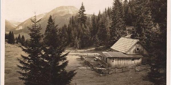 Alte Ansichtskarte von der Alpenrose Schutzhütte am Pollerboden