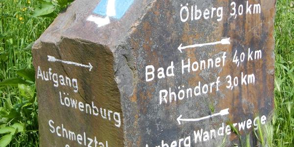 Der Rheinsteig-Markierungsstein im Bereich des Löwenburger Hofs.
