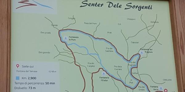 Le indicazioni con la mappa del percorso
