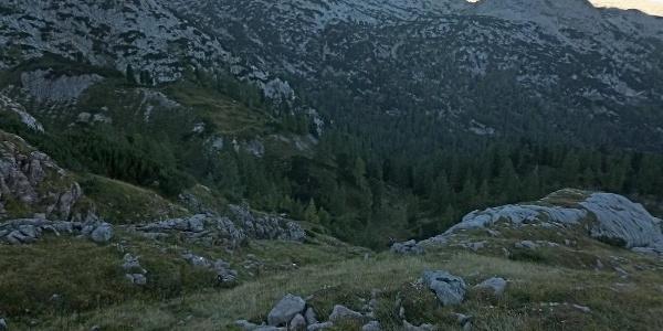 Blick vom Anstieg zum Steinernen Meer mit Breithorn
