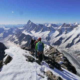 Herrliche Aussicht vom Gipfel des Schreckhorns; Obers Ischmeer in der Tiefe, links das Oberaarhorn