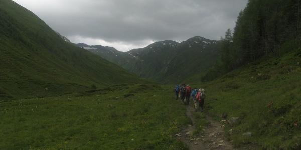 Von der Stickler Hütte talweinwärts (Südwesten)