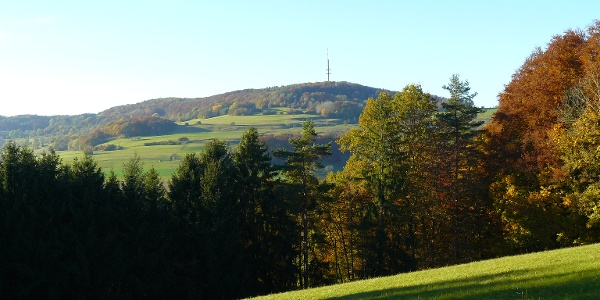 Von weitem sichtbar: der Wannenberg mit dem markanten Funkturm