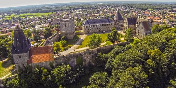 Luftaufnahme von der Burg Bentheim