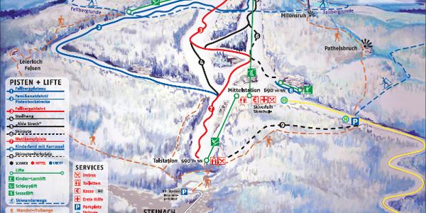 Pistenplan Skiarena Silbersattel
