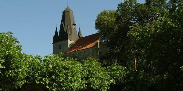 Blick aus dem Schlosspark auf die Katharinenkirche der Burg Bentheim