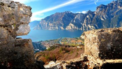 View over lake Garda from the trenches of Monte Corno