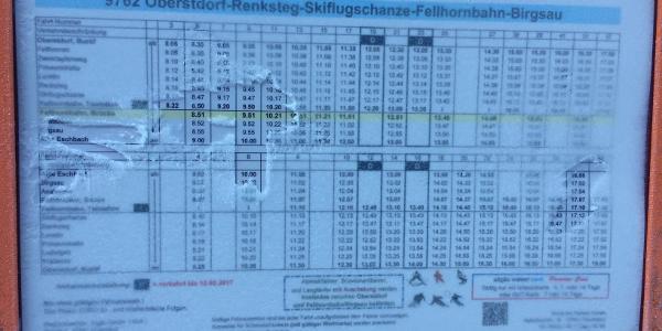 Busfahrplan, von und zur Alpe Eschbach. Dem Ausgangs- und Endpunkt.