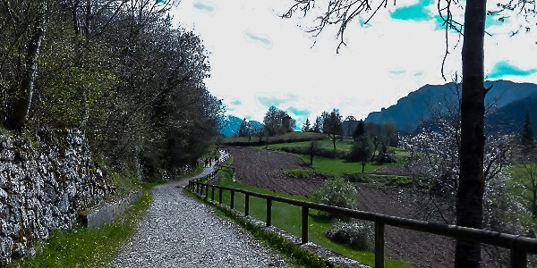 Die Straße, die vom See nach Canale führt