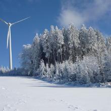 Windrotor und verschneiter Wald beim Schillingerberg