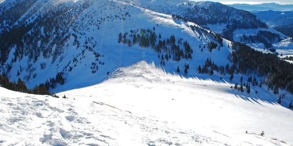 Blick vom Gipfel des Hohen Waxeneggs auf den Taborsattel – Kleines Waxenegg und Donnerwand im Hintergrund