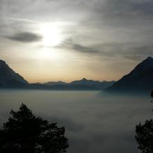 Abendstimmung am Wank mit Blick auf die Zugspitze