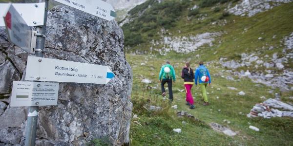 Abzweigung zum Klettersteig
