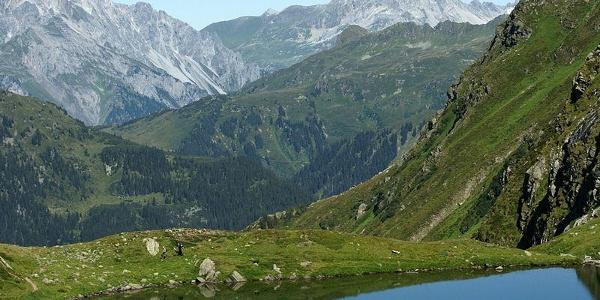 Blick vom Schwarzsee auf das Lechquellengebirge
