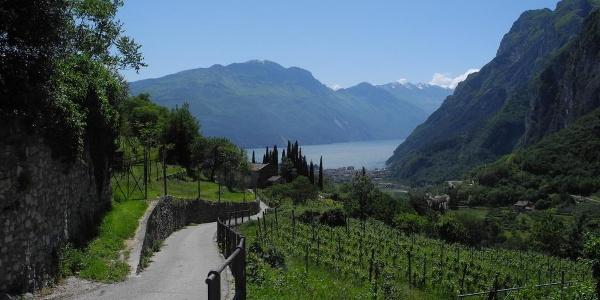 La chiesetta di San Lorenzo e la strada che porta al borgo di Frapporta a Tenno