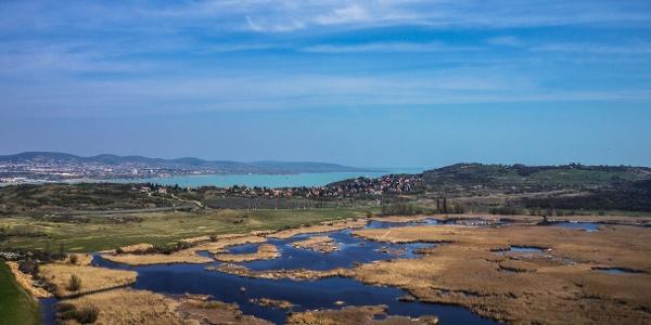 A Külső-tó szabdalt vízfelülete, mögötte a Balaton az Őrtorony kilátóból nézve