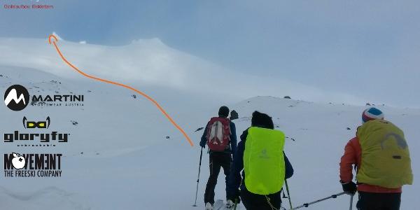 Snaefellsjökull Übersichtsbild der Skitour - Topo