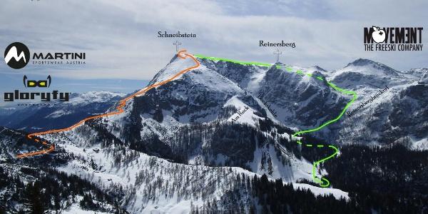 Kleine Reibn über Variante Reinersbergbrückerl - Übersichtsfoto - Topo