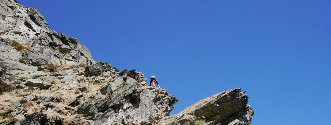 Steiler Zustieg zur Flanke des Gaggio