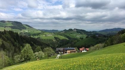 Blick auf Konradsheim & Sonntagberg bei der Abfahrt