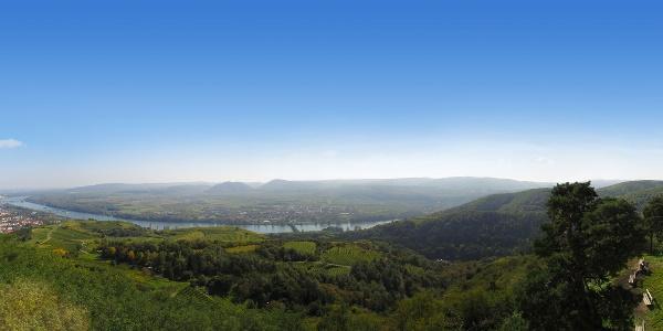Blick von der Donauwarte des ÖTK auf die Donau mit Stadt Krems im Vordergrund