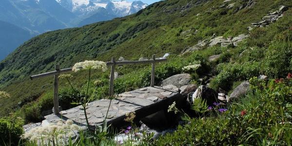 Der Weg mit Piz Medel im Hintergrund